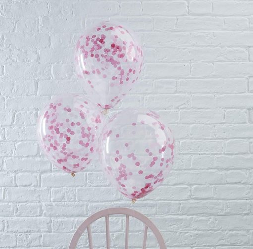 Rosa ballons madchen party geburtstag confetti ginger ray