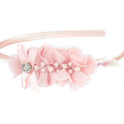 Diadem perlen blumen rosa